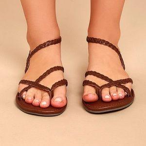 Mia Braid Cognac Leather Thong Sandals